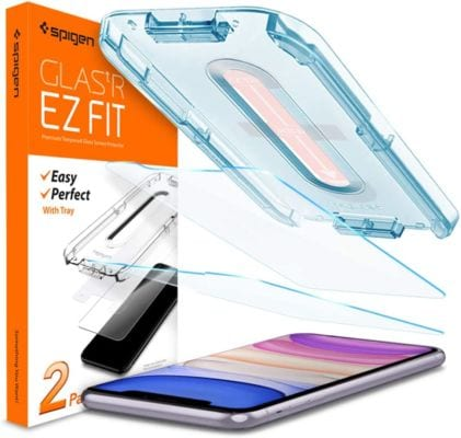 Spigen Tempered Glass Screen Protector [Glas.tR EZ Fit] designed for iPhone 12/ iPhone11 / iPhone XR